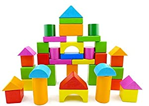 Brightly Colored Wooden Building Blocks, Set of 30 from XFANS