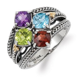 Genuine IceCarats Designer Jewelry Gift Sterling Silver & 14K Four-Stone Mother's Ring Mounting Size 5.00