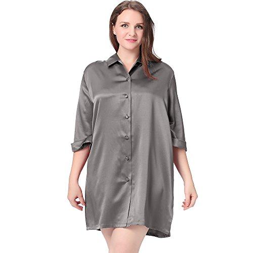 LilySilk Seide Nachthemd Nachtshirt Sexy in Großen Größen 22 Momme Dunkel Grau 3X