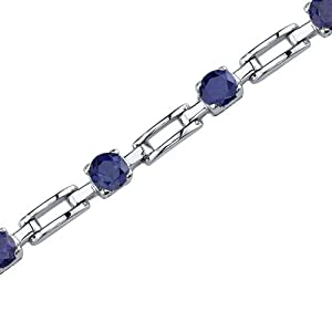 Gorgeous and Chic: Round Shape Blue Sapphire Gemstone Bracelet in Sterling Silver Rhodium Finish from peora