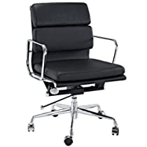 LexMod Discovery Mid Back Leather Conference Office Chair in Black Genuine Leather