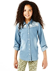 Pure Cotton Floral Embroidered Denim Shirt