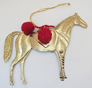 Horse Christmas Equestrian Hanging Ornament Milagro Tin Good Luck Large 7""