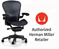 Hot Sale Herman Miller Aeron Chair Highly Adjustable with Lumbar Support Pad - Large Size (C) Graphite Dark Frame, Tuxedo Blue Black Pellicle Suspension Material Home Office Desk Task Chair