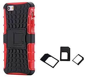 Chevron Hybrid Military Grade Dual Armor Kick Stand Back Cover Case for Apple iPhone 5 with Multi Sim Adapter (Red)