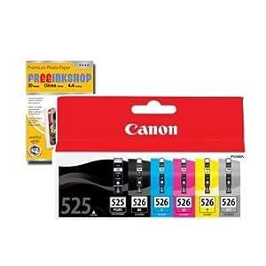 PGI-525 BK - CLI-526 BK CMYGY - 6 x Cartouches d'encre Originales - Noir grande et petite/ Cyan/ Magenta/ Jaune/ Gris - à utiliser avec IX 6550 MG 6150 6250 8150 8250 + Premium Glossy Photo Papier - 4x6 - 20 feuilles