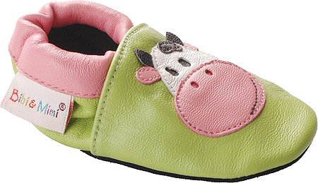 Bibi & Mimi Infants Cow Crib Shoes,Green Leather,6-12 Months