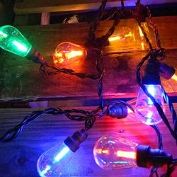 Commercial Led Edison String Lights, 25 Multicolor Globes, Black Wire