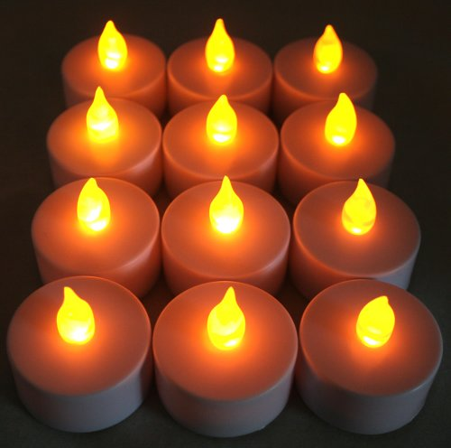 Battery-Powered Flameless Led Flickering Flicker Tealight Candles Wedding Party Table Decoration, (Amber), 1-Dozen Pack (12 Pieces)~Bluedot Trading