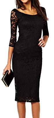 made2envy Boat Neckline 2/3 Sleeves Lace Overlay Evening Midi Dress
