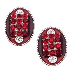 Tivona Silver Ruby Clip On Earrings
