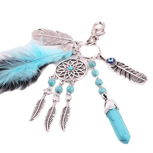Iuhan® Fashion Bohemia Dreamcatcher Feather Keychain Bag Plush Key Ring Car Key Pendant