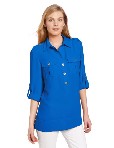 Jones New York Women's Roll Sleeve Tunic