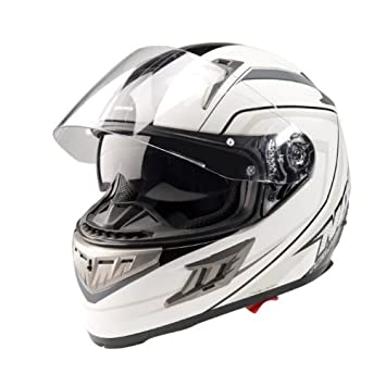 NOX CASQUE INTEGRAL N912 DECO GRIS DOUBLE VISIERE