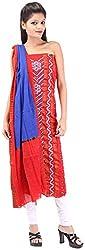Shreya Bandhej Women's Cotton UnStitched Dress Material (SB16-RBl, Red & Blue )