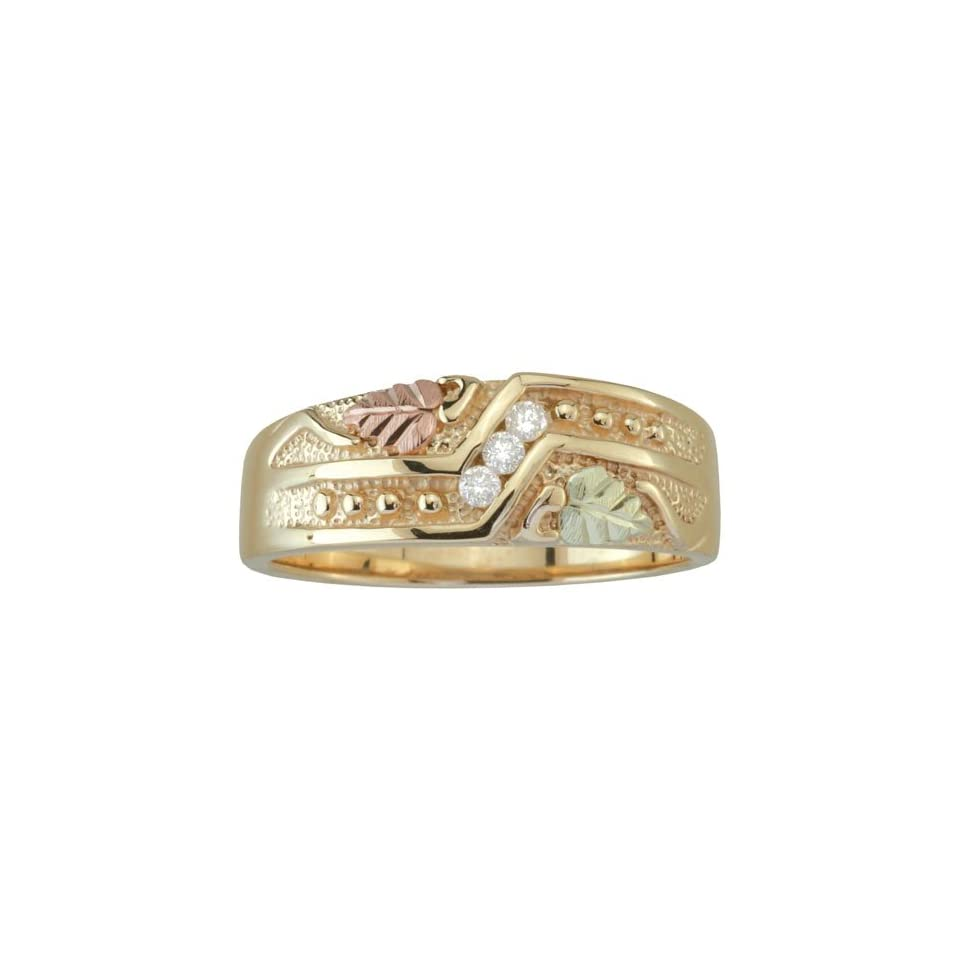 Coleman Black Hills Gold Mens 10K Gold Diamond Wedding Ring Jewelry