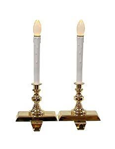 2-Piece Lighted Brass Stocking Holder Set With Candle Lamps #H89106