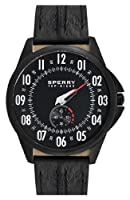 Sperry Top-Sider Watch, Men's Authentic Original Black Kicker Seam Leather Strap 44mm 102024 by Sperry