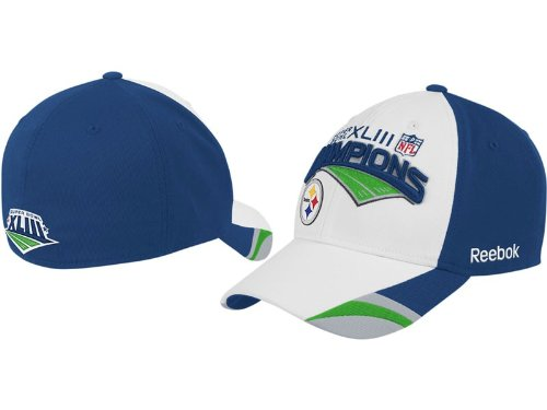 Pittsburgh Steelers 2009 NFL Superbowl Champions Stretch-Fit Cap by Reebok (Blue-White)(Size=MIS)