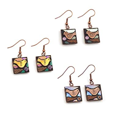 Copper Mosaic Earrings by Angela Ibbs
