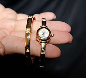Elgin Galaxie Womens Gold Watch with Matching Bracelet