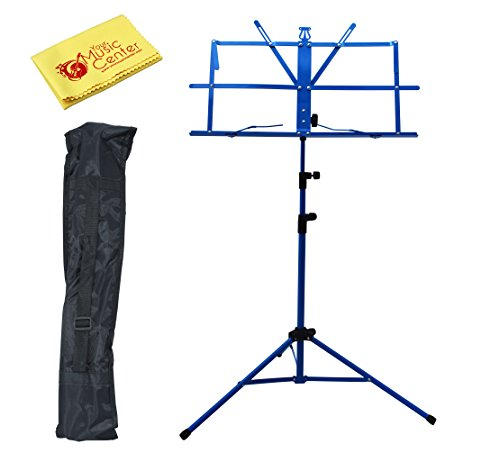 YMC Two Section Folding Portable Music Stand with Carrying Bag and Polishing Cloth - Blue (Music Stands Portable compare prices)