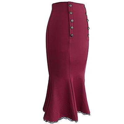 VfEmage Women's Vintage High Waist Wear To Work Bodycon Mermaid Pencil Skirt