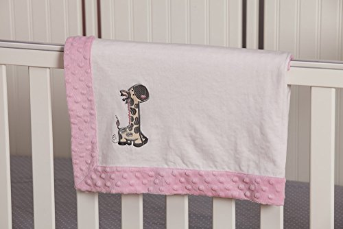 White and Pink Giraffe Embroidered Minky Dot Baby Blanket - 1
