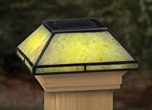 tiffany style glass solar post cap light. Black Bedroom Furniture Sets. Home Design Ideas