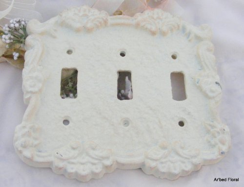 Antique White Cast Iron Triple Switch Cover Plate front-187550