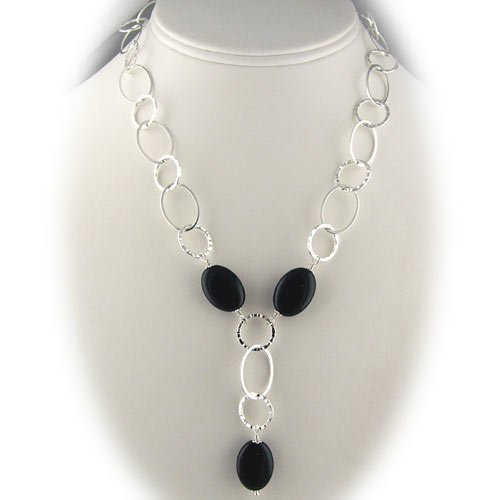 Sterling Silver Black Onyx Large Link Chain Y Necklace