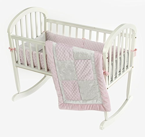 Baby Doll Croco Minky Cradle Bedding Set, Pink/Ivory