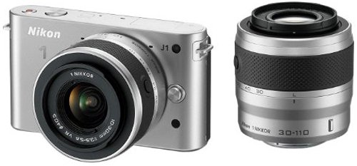 Nikon 1 J1 Compact System Camera with 10-30mm and 30-110mm Double Lens Kit - Silver (10.1MP) 3 inch LCD