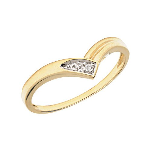10K Yellow Gold Diamond Chevron Ring (Size 11)