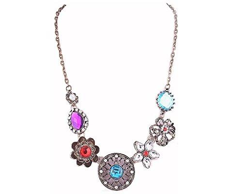 Glitz Floral Collection Multicolour FLower Chain Links Alloy Pendant Necklace For Women