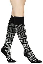 Buttons & Pleats Womens & Mens Medical Grade 20-30 mmHg Compression Socks Diagonal Stripe ML