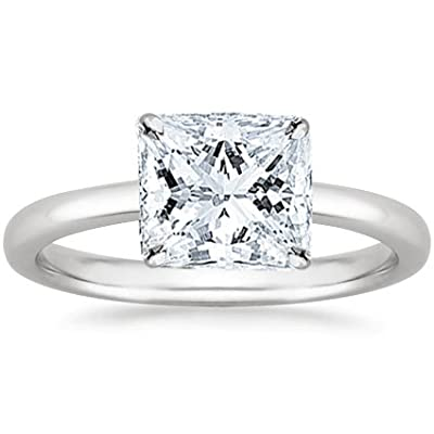 3 Carat Princess Cut Solitaire Diamond Engagement Ring GIA Certified (E Color VS1 Clarity)