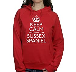 Keep calm and walk the Sussex spaniel womens hooded top pet dog gift ladies Red hoodie white print