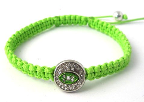Green Lace Style Iced Out Eye Bracelet with Beaded Disco Balls Macrame Shamballah