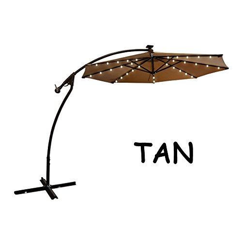 9 39 cantilever solar powered 40 led light patio umbrella outdoor garden sunshade tan home garden. Black Bedroom Furniture Sets. Home Design Ideas