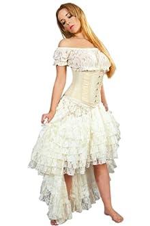 Burleska Women's Amelia Steampunk Skirt (XXL, Cream Lace)
