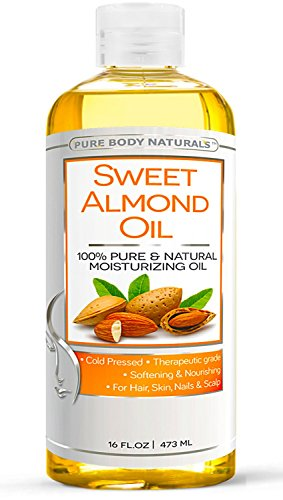 Pure Body Naturals - Sweet Almond Oil, Super Triple A Grade Quality, 100% Pure and Natural from Spain, Cold Pressed, Massage Oil 16 fl oz.