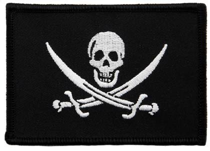 Jolly Roger Calico Jack Flag Embroidered Patch Black White Pirate Skull Iron-On