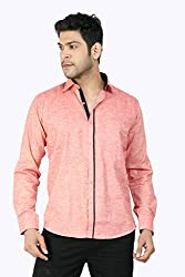 Basilio's Red Colored Semi Formal Shirt For Men-M