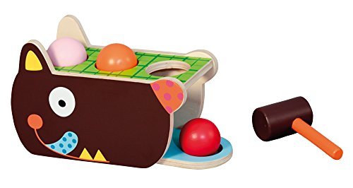 Crazy Cuddly Wolf Wood Pound-a-Ball Activity Toy