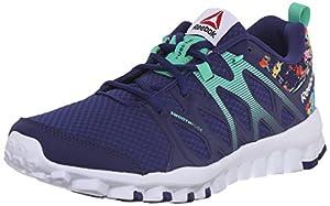 Reebok Women's Realflex 4.0 Training Shoe, Night Beacon/Electric Blue/Icono Pink/White, 8.5 M US