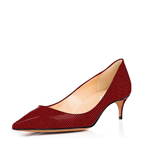 YDN Women Pointed Toe Heels for Office Lady Pumps Stilettos Dress Polka Dots Shoes Patent Leather Casual size 4