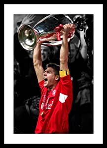 Framed Steven Gerrard Liverpool FC 2005 Champions League Spot Colour Photo Memorabilia