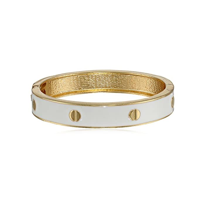 White Enamel with Stud Accent Hinged Bangle Bracelet, 8.5