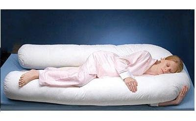 Comfort U Total Body/ Full Body Non-Allergenic(DOWN LIKE Pillow)+FREE PILLOW CASE 100% COTTON-CREAM